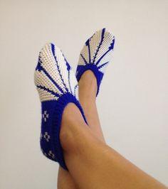 White and blue  Otantic slippers special knitting by NesrinArt, $24.00