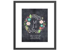 Personalized art print chalkboard floral wreath name wall decor for nursery or girl& room. Perfect baby shower gift for new moms! Name Wall Decor, Nursery Wall Decor, Baby Posters, Edible Art, Gifts For New Moms, Chalkboard, Baby Shower Gifts, Street Art, Floral Wreath
