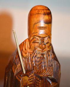 Japanese Wood Carving of Longevity Fukurokuju God of by KAGUMISE