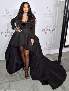 Rihanna wows in dramatic black gown for Diamond Ball | Daily Mail Online