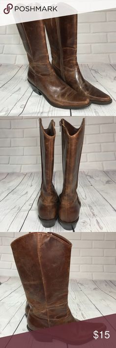 Matisse Brown Boots Brown Boots with wear. Cute design on the outside of the Boots. Made in Brazil. Leather upper, man made sole. Matisse Shoes Heeled Boots