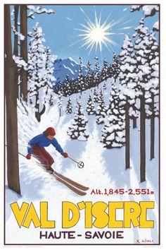 'Val D'Isere: Off-Piste Skier' - by Katrine Kohli - Vintage travel posters - Winter Sports posters - Art Deco - Pullman Editions Ski Vintage, Vintage Ski Posters, Photo Vintage, Art Deco Posters, Cool Posters, Sports Posters, Retro Posters, Old Poster, Best Ski Resorts