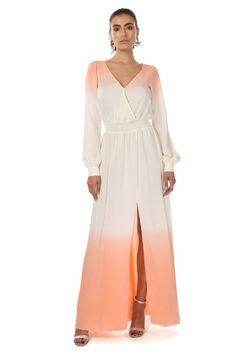 """LARKIN OMBRE DRESS  was $598 now $179  SILK SURPLICE V NECK OMBRE MAXI WITH SLIT SLEEVE AND FRONT THIGH HIGH SLIT. WAISTLINE IS EMPHASIZED WITH ELASTIC SMOCKING.    SHOULDER TO HEM MEASUREMENT 60.5"""" 100% SILK  DRY CLEAN ONLY"""