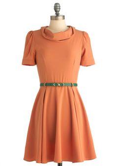Love the green belt! Perfect splash of color. -- Cowl Me Dress, #ModCloth