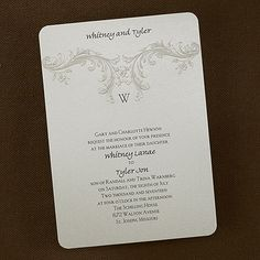 Baroque Elements - Invitation - Curved Edges - Soft and Elegant Wedding Invitations