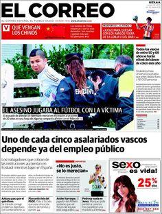 Los Titulares y Portadas de Noticias Destacadas Españolas del 6 de Mayo de 2013 del Diario El Correo ¿Que le parecio esta Portada de este Diario Español?