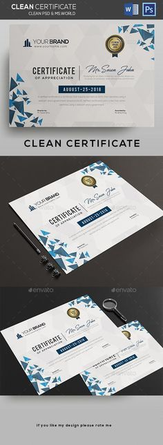 Certificate Certificate Template psd file and ms ward file include Fully Clean Certificate Paper Size With Bleeds Quick and easy to customize templates Any Size Changes Fully Group Layer Free Fonts Use Fully Vector