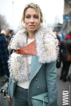 Pale Blue Coat w/ Fur Details