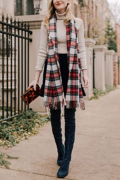 Tartan Scarf (Back in stock and now available in three awesome plaids!) / Velvet Ruffled Skirt / Navy Suede Over-the-Knee Boots (More affordable here) / Tortoise Clutch and Cream Turtleneck c/o Tuckernuck / Tory Burch Earrings (Love these for the holidays!) / Monica Vinader Bracelet