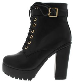 SEATTLE2 BLACK CHUNKY LACE UP ANKLE BOOT