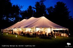 Glowing sailcloth tent with lighting by Seitel Lighting in Williamstown, MA Wedding Tent Lighting, Tent Wedding, Sailing Outfit, Celebrity Weddings, Lighting Design, Gazebo, Outdoor Structures, Patio, Outdoor Decor