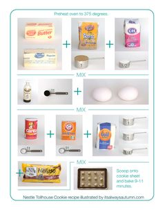 #tollhouse cookie #recipe #printable for kids | what a great idea! photos show kids how much of which ingredients to add as you make the classic #chocolate #chip #cookies together!