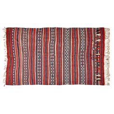 (11DA) A Hand-Woven Kilim Rug n\A Hand-Woven Kilim Rug Decorated with bands of geometric designs in white, red and blue,… / MAD on Collections - Browse and find over 10,000 categories of collectables from around the world - antiques, stamps, coins, memorabilia, art, bottles, jewellery, furniture, medals, toys and more at madoncollections.com. Free to view - Free to Register - Visit today. #Rugs #Carpets #Textiles #MADonCollections #MADonC