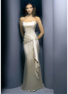Buy discount Stretch Satin Sheath Prom Dress With First-class Fabric And Exquisite Beaded Lace Appliques at Dressilyme.com