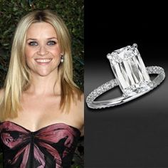 Reese Witherspoon wears a rare four-carat Ashoka diamond engagement ring from Jim Toth. Designed by William Goldberg, the cost was approximately $250,000. They were married on March 26, 2011 at her ranch estate in Ojai, California.
