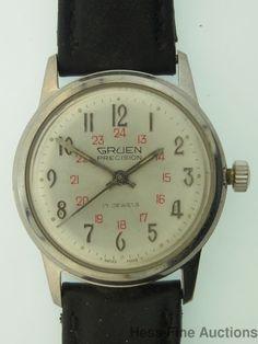 Vintage Gruen 17J Swiss Red 24 Hour Stainless Steel Mens Wrist Watch to Fix #Gruen