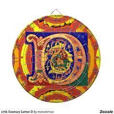17th Century Letter D Dartboard #Alphabet #Letter #Historical #English #DartBoard #Game
