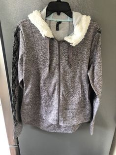 3e26f2f07ce8 NWT Gaiam Womens Light Purple Fur Hoodie Printed Sweatshirt Size M  fashion   clothing