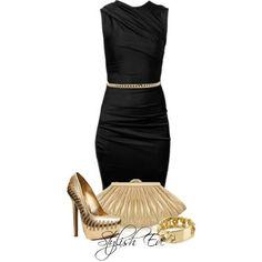 Black & gold LBD