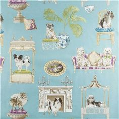 """Best in Show Fabric is 54"""" wide and 100% cotton. This fun and furry-friendly fabric features adorable high-class dogs with exquisite pillows, beds, and other home decor. With high-class breeds like the fluffy Pomeranian, the dainty Papillion, the sophisticated Pug, and others, this fabric is wonderful for creating unique curtains, pillow covers, and more!    CARE INSTRUCTIONS: Machine wash warm, tumble dry and remove promptly.    Available in 1-yard increments. Average bolt size is…"""
