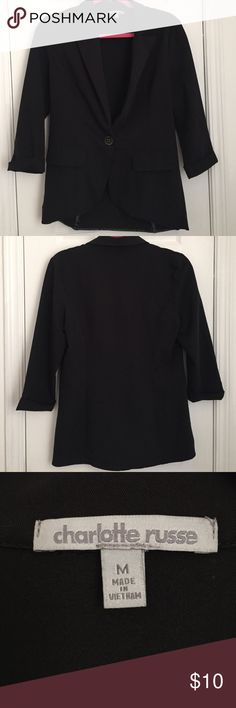 Charlotte Russe Blazer A professional looking blazer designed by Charlotte Russe! It has a very soft material and has been gently used, no stains/flaws. It is perfect for a job interview or just your normal job :). Charlotte Russe Jackets & Coats Blazers