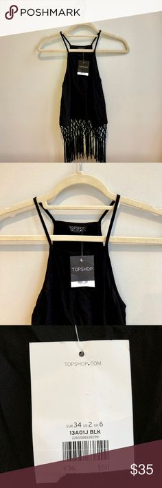 NWT Topshop Fringe Tank Top NWT Topshop women's black fringe tank top. Size US 2/XS. Slightly Cropped. Topshop Tops Tank Tops