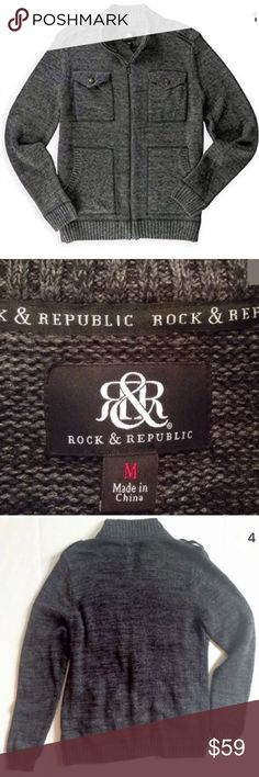 Mens Rock & Republic Sweater Gray Military Gray MSRP $100)  Rock & Republic men's sweater, heathered gray/black color with long sleeves, military style fashion with shoulder epaulettes, stand-up collar, full zipper & 4 pockets  Size: Men's Medium  Color: Heathered Gray Black  Military Knit, ribbed trim, collar & cuffs Material: 53% Cotton, 7% Nylon, 40% Rayon Rock & Republic  Sweaters Zip Up