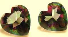 Wonderful Matched Pair Heart Shaped Mystic Topaz Great for Earrings Rings