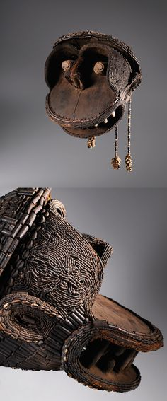 Africa | 'Kekum njang' mask, in the form of a monkey, from the Kom people of the Grassland Province of Cameroon | Wood decorated with glass beads and shells | ca. Late 19th to early 20th century
