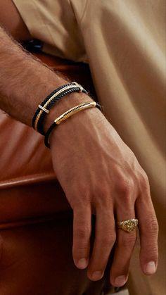 Black and Gold best combo 👌🏻 Triple Row Leather Bracelet & Signature Leather Bracelet & Classic Oval Ring #atolyestone #mensfashion #luxury #designerbracelet #designerring Mens Gold Bracelets, Mens Gold Jewelry, Leather Jewelry, Fashion Bracelets, Mens Jewellery, Mens Leather Necklace, Leather Men, Man Necklace, Man Bracelet