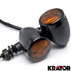 Krator® 2pc Skull Lens Black Motorcycle Turn Signals Bulb For Harley Davidson Softail Springer Heritage Classic