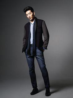 Chino pants, scarf and jacket