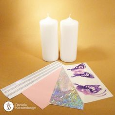 Bastelset Schmetterling rosa - lila Pillar Candles, Candle Holders, Lilac, Madness, Wax, Porta Velas, Candles, Candlesticks, Candle Stand