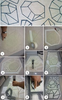 Vecco Technique: DIY design a rug with stenciling, spraying, and sealing!