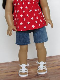Every doll needs a pair of denim shorts!  These shorts are eco-friendly and upcycled from a pair of blue jeans. #ag #agclothes #pixiefaire #libertyjane