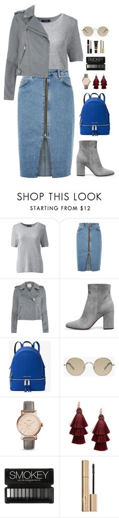 """""""Gray"""" by elliejd ❤ liked on Polyvore featuring Lands' End, Topshop, River Island, MICHAEL Michael Kors, Tura, FOSSIL, Design Lab, Couture Colour and Stila"""