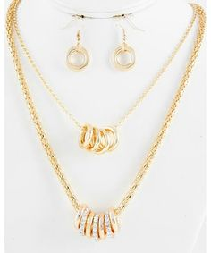 443391 Gold Tone / Clear Rhinestone & Gold Ccb (bead) / Lead&nickel Compliant / Multi Row / Necklace & Fish Hook Ear
