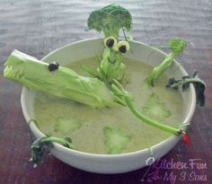 Kitchen Fun With My 3 Sons: Swamp Soup..a great way to get the kids to eat Broccoli Soup!
