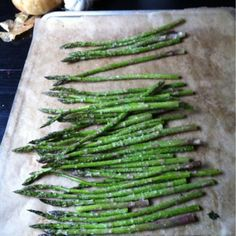 """""""Baked Asparagus olive oil salt pepper parmesan cheese bake at 350 for 10-15 minutes."""" Must try soon."""