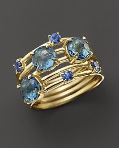 IPPOLITA 18K Gold Lollipop® Constellation Ring in London Blue Topaz and Medium Blue Sapphire
