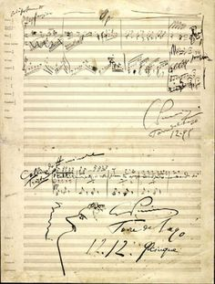 La Bohème Giacomo Puccini. Sketches for Act IV.  Autograph manuscript, 12 December 1895
