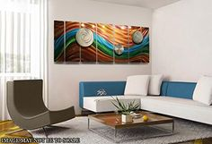 Over-sized Fusion Of Orange, Blue and Green Earth Tone Contemporary Abstract Hand-painted Metal Art Wall Panel - Metallic Home Decor, Home Accent, Modern Wall Painting - Poetry Of Earth XL By Jon Allen *** Want to know more, click on the image. (This is an affiliate link and I receive a commission for the sales)