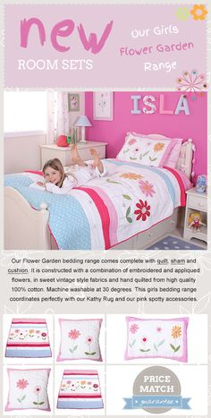 This stunning Flower Garden bedding room set has detailed embroidery and appliquéd flower detail in a combination of pink and blue spotty fabrics, perfect for a baby girl's nursery.