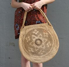 STRAW FLOWER Big Round Woven Tote Bag by luckyvintageseattle