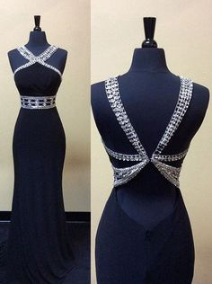 Dressywe Sexy Mermaid Long Beaded Backless Prom dress-Navy Blue Sleeveless Prom dress