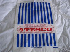 1980s Tesco plastic carrier bag. I work there as a kid. They've had my wages back since then!