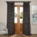 Exclusive Fabrics & Furnishings Astoria Mercury Grey and Dark Sapphire Faux Silk Jacquard Curtain Panel - 50 in. W x 96 in. L