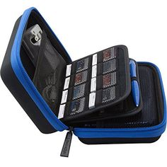 Brendo Carrying Case for New Nintendo XL, XL, Case, Fits Wall Charger, 24 Game Cartridge Holders and Large Stylus - Black/Blue Nintendo Ds Charger, Nintendo Dsi Games, Nintendo Ds Console, Nintendo Ds Lite, 3ds Case, Consoles, Ds Xl, New 3ds, Console