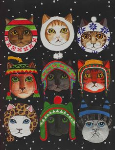 I've called this work 'Cats in Winter Hats' by Anni Morris www.annimorris.com