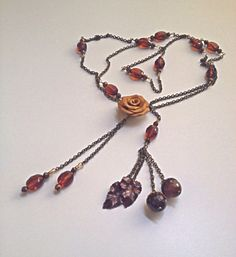 Fall Lariat Necklace With Rose And Acorns - pinned by pin4etsy.com